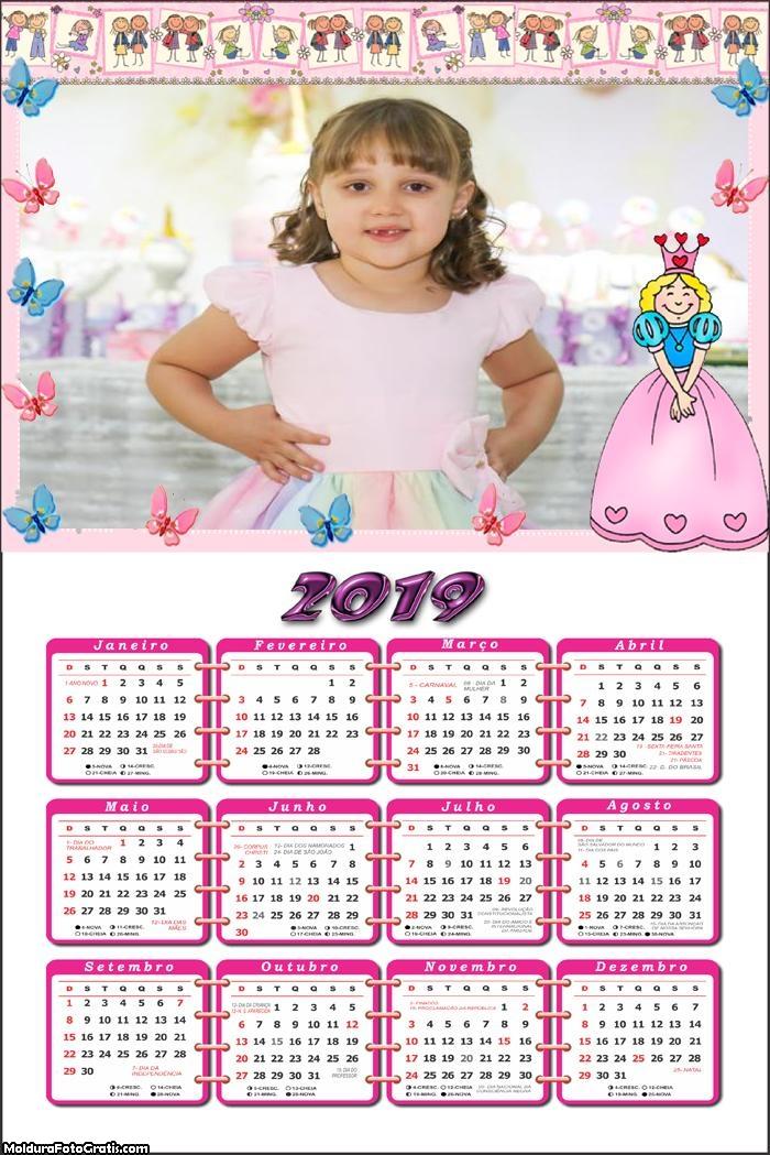 Calendário Princesa Baby 2019 Moldura