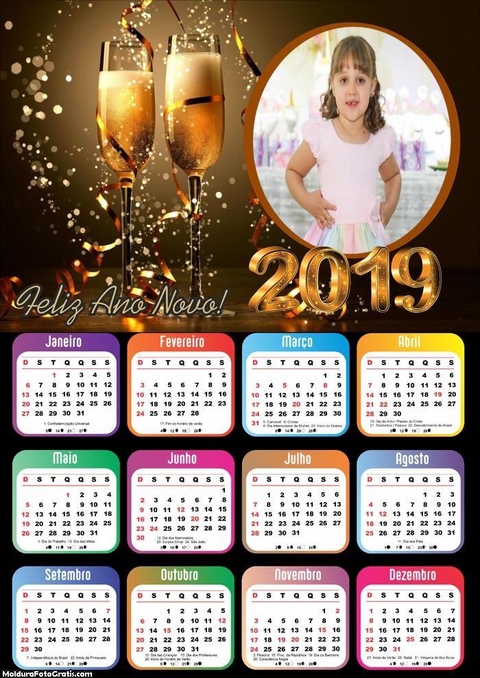Calendário Deseje Feliz Ano Novo 2019