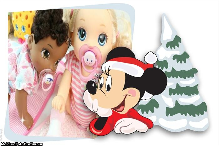 Mickey Vestido de Papai Noel FotoMoldura