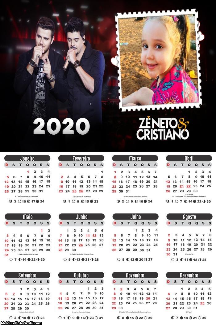 Calendário Zé Neto e Cristiano 2020