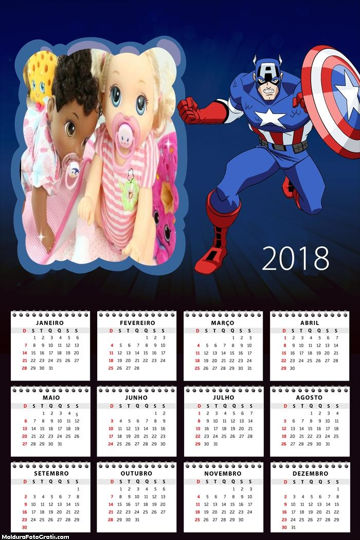 Calendário Homem América 2018