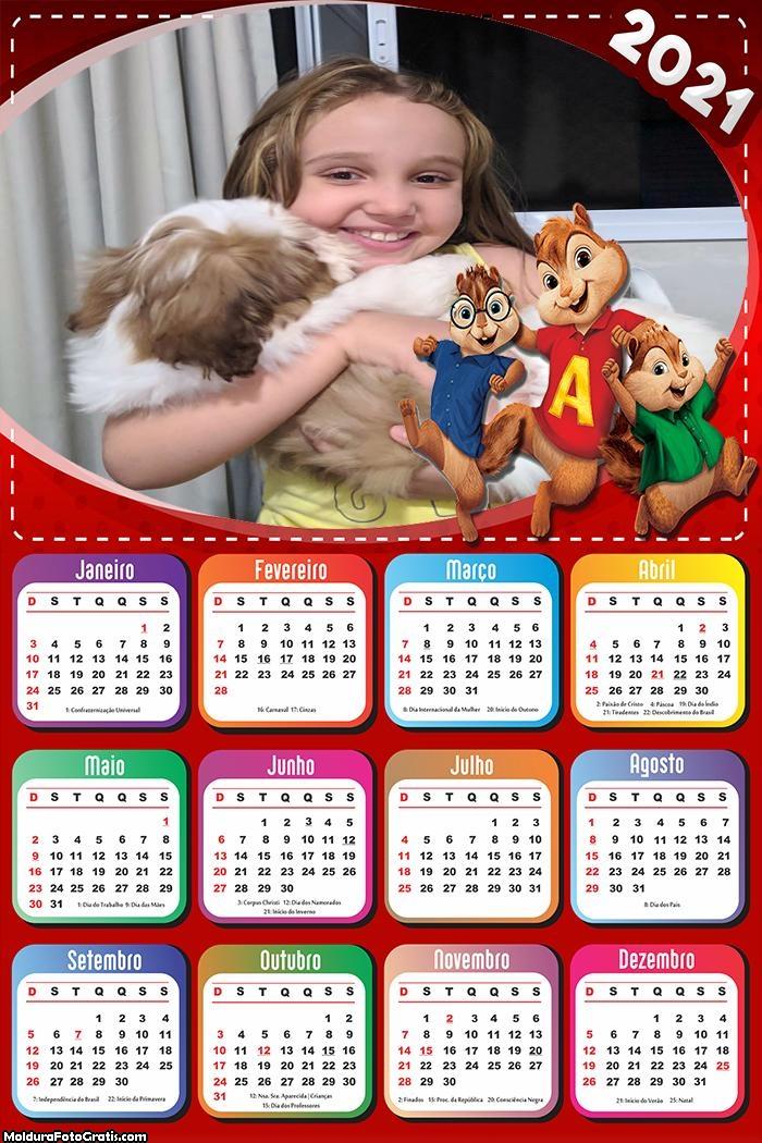 Calendário Alvin e os Esquilos 2021
