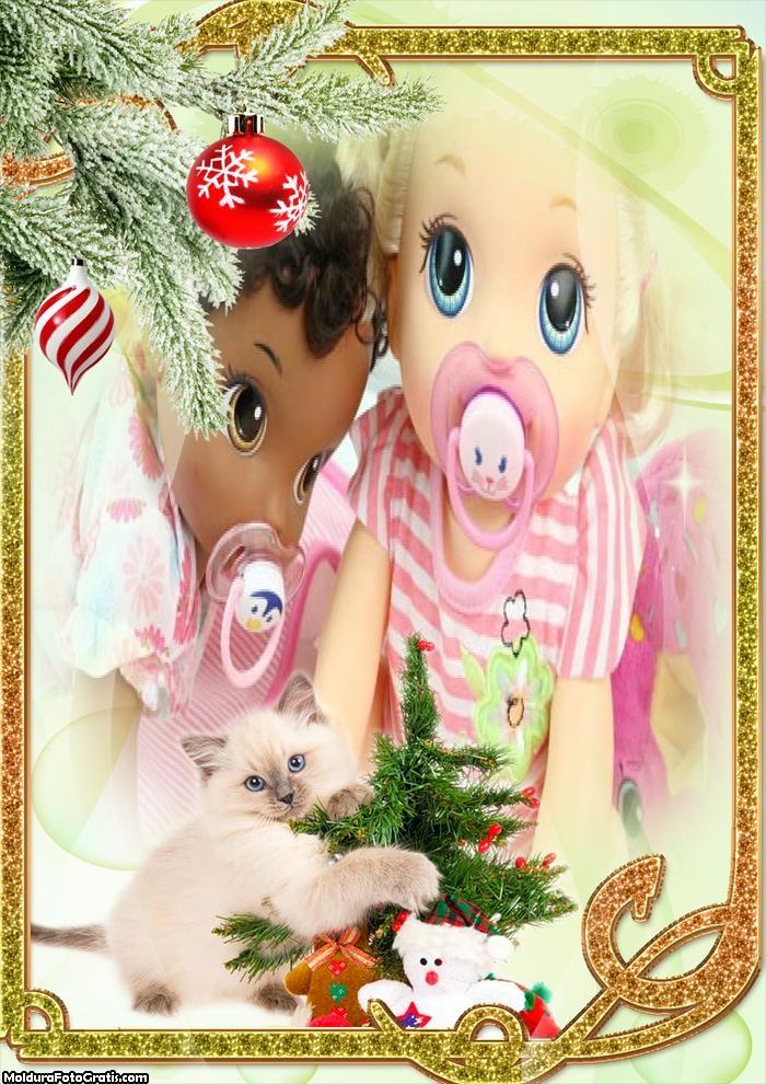 Gatinho e Árvore de Natal FotoMoldura