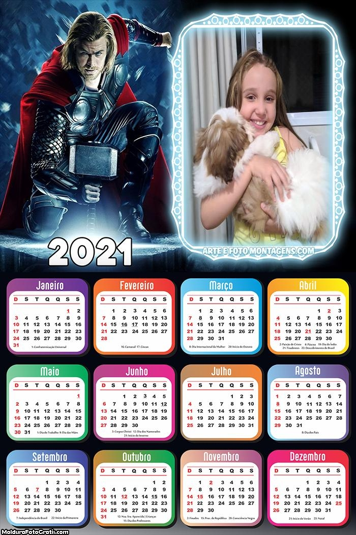 Calendário Thor 2021
