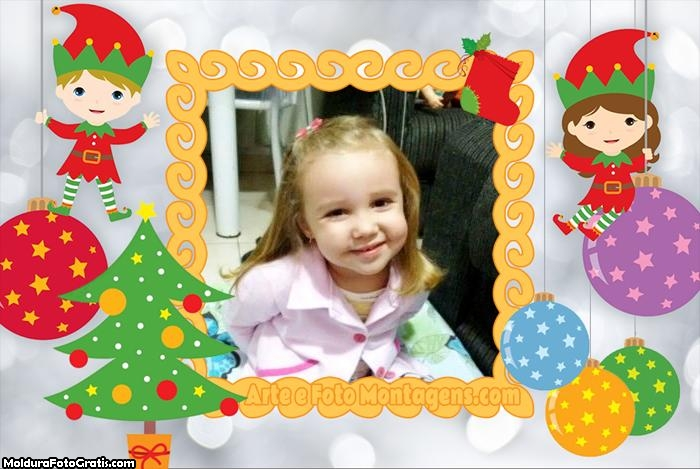 Foto Moldura Ajudantes de Papai Noel Cute