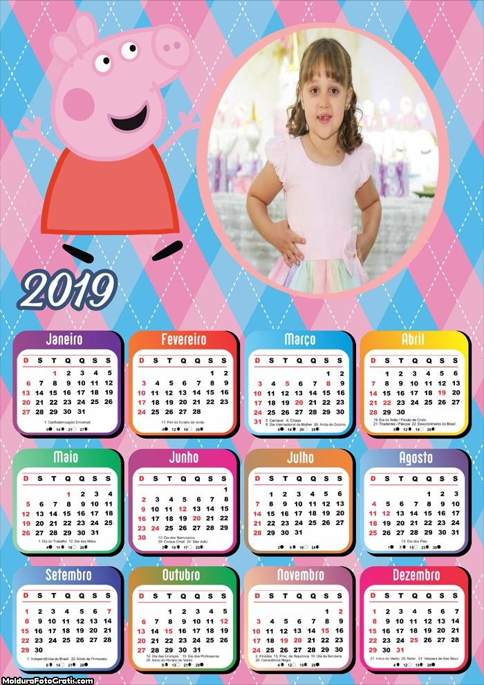 Calendário Peppa Pig 2019 Moldura