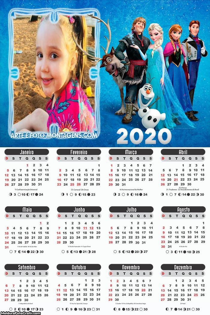 Calendário Frozen 2020