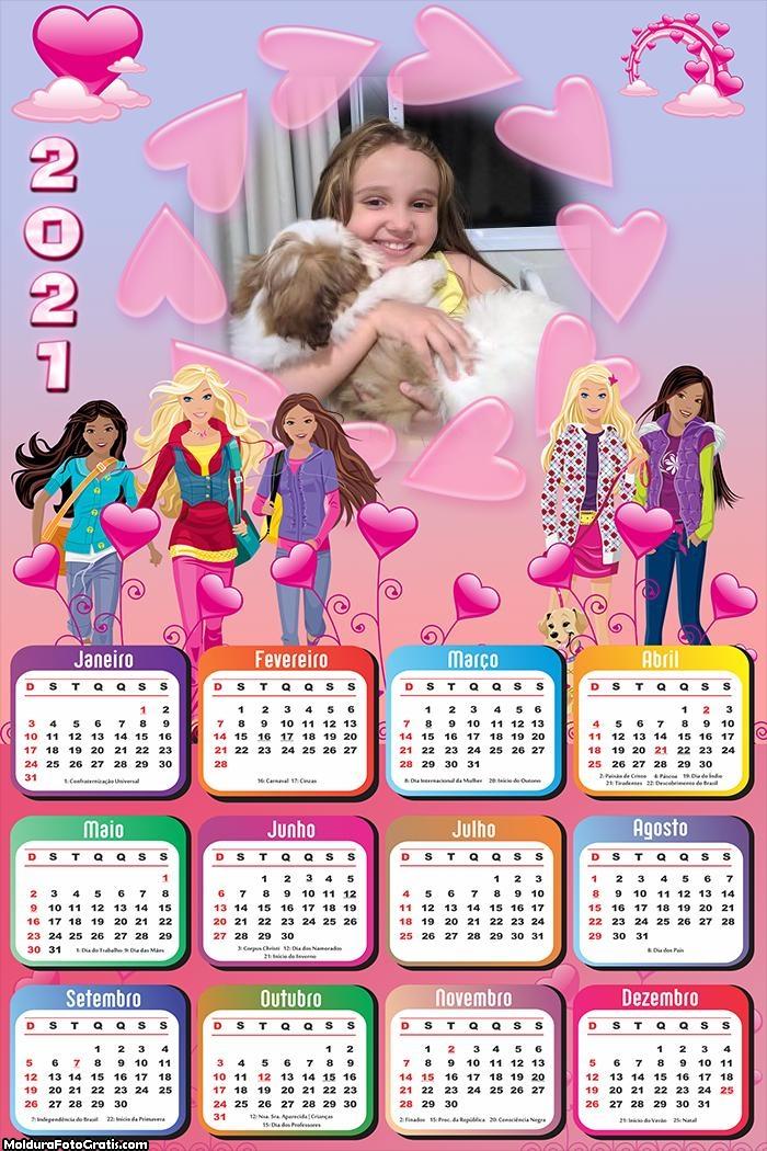 Calendário Barbie Jovem 2021