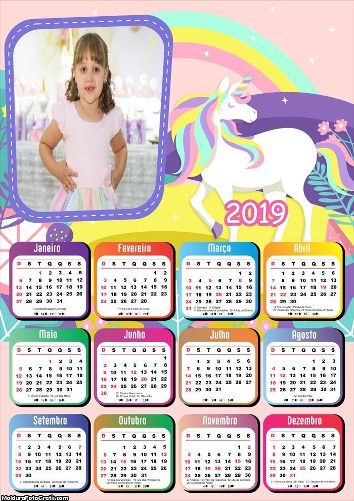 Calendário Unicórnio 2019
