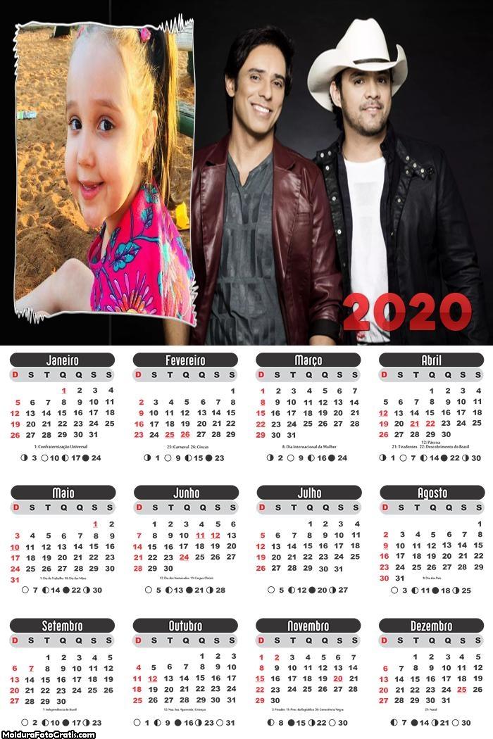 Calendário Guilherme e Santiago 2020