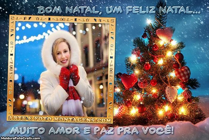 Mensagem de Natal na Árvore de Natal Moldura