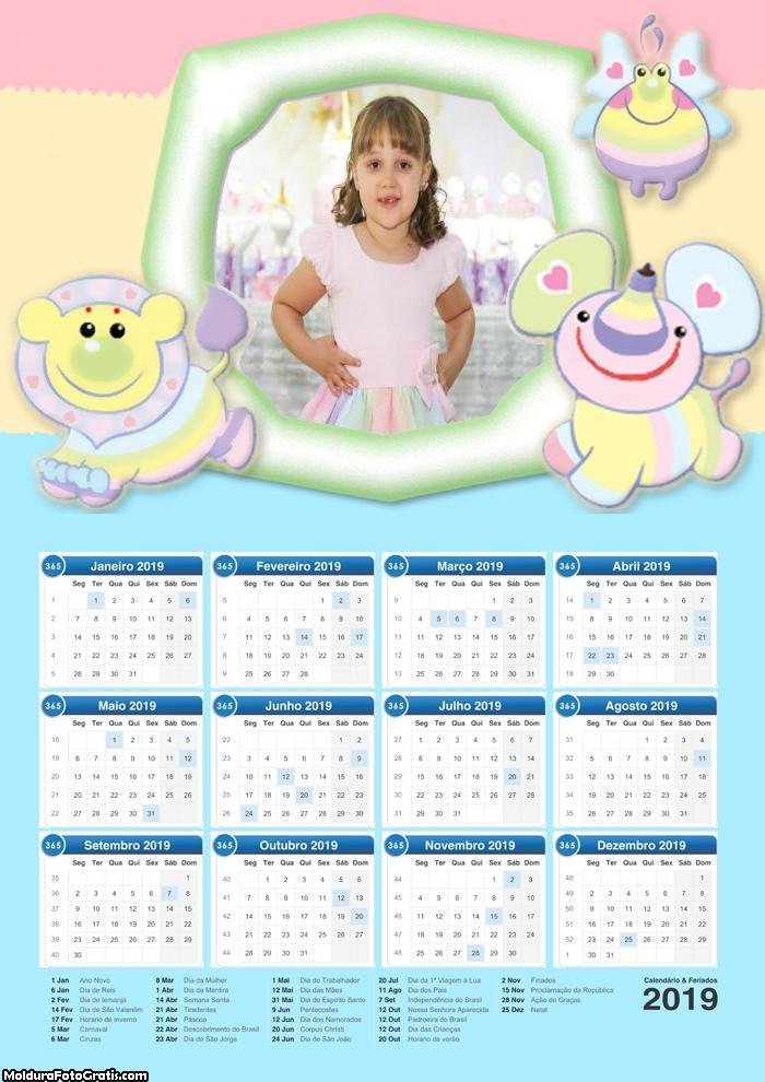 Calendário Animais Baby Infantil 2019