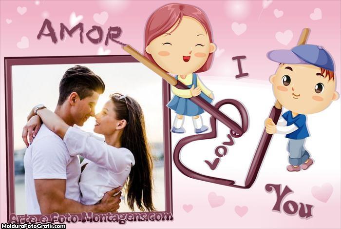 Amor I Love You Foto Moldura
