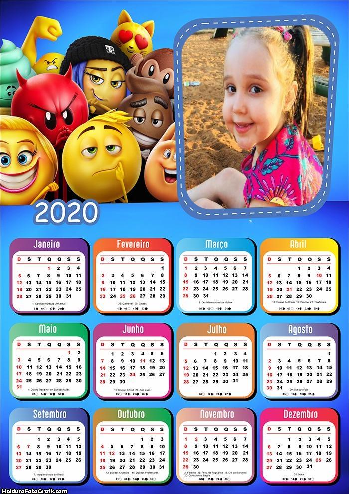 Calendário Personagens Emojis 2020