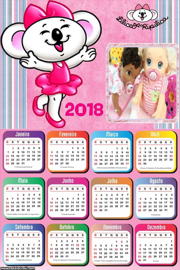 Calendário da Lilica 2018