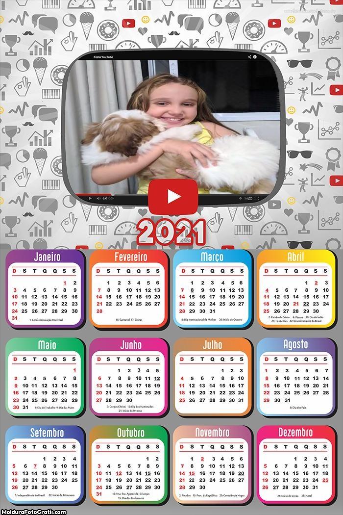 Calendário Youtube 2021