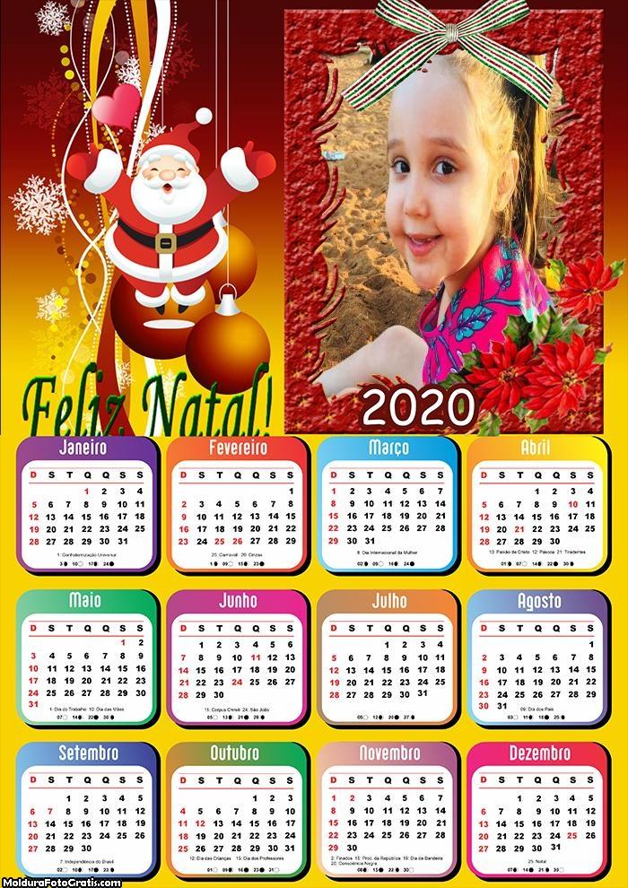 Calendário Papai Noel Vermelho 2020