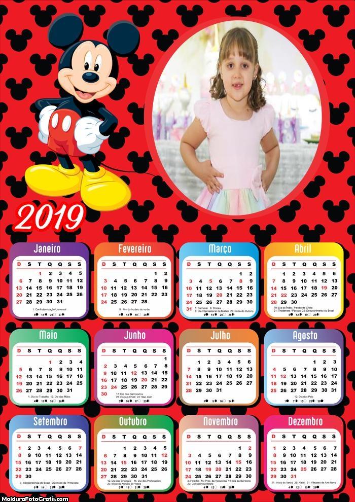 Calendário Mickey Mouse 2019