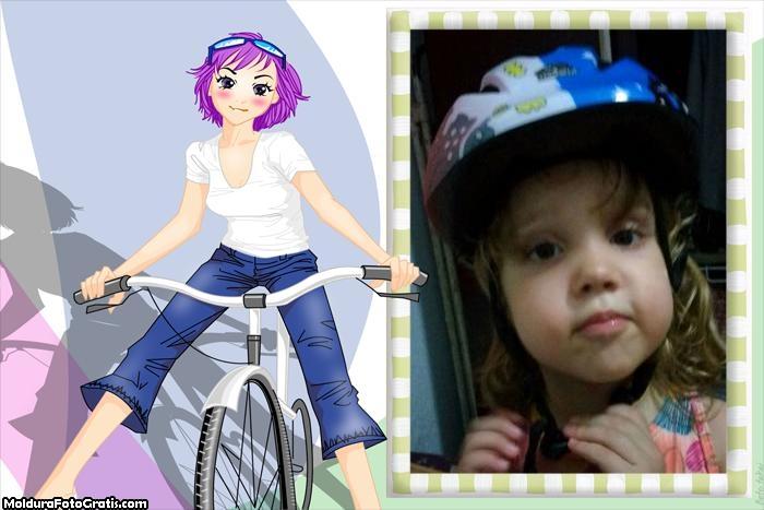 Moldura Menina e Bicicleta