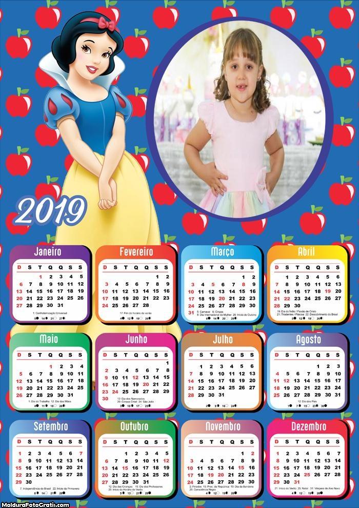 Calendário Princesa Branca de Neve 2019 Moldura