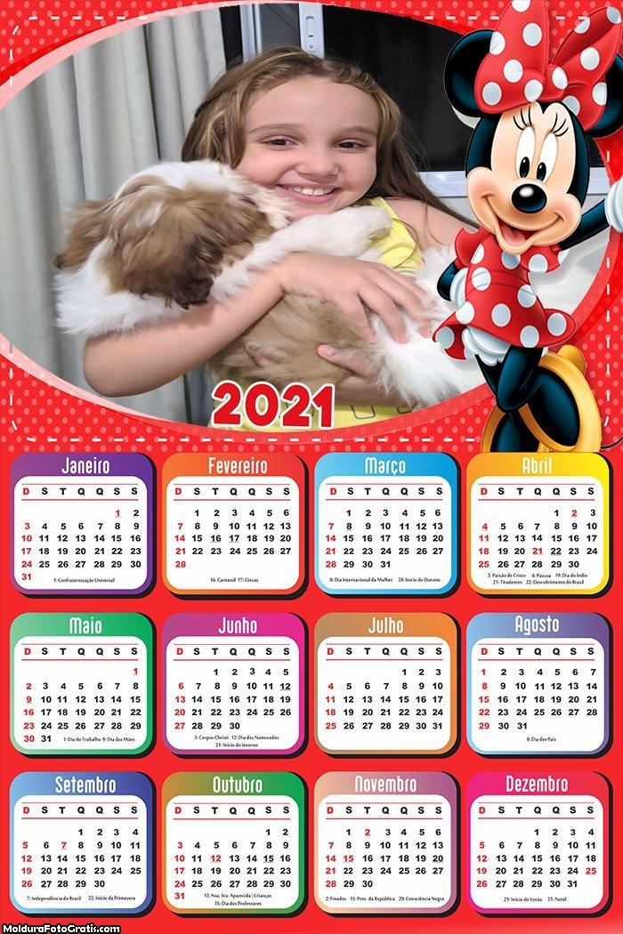 Calendário Minnie Vestido Vermelha 2021