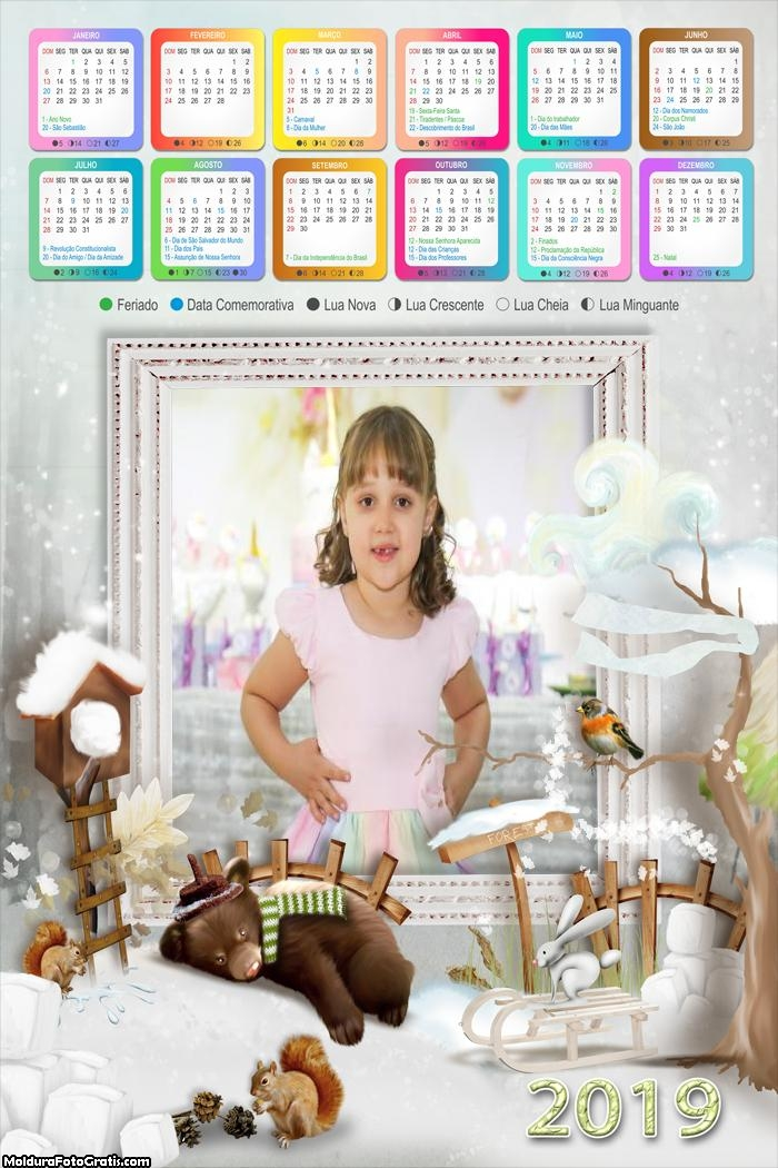 Calendário Animais no Natal 2019
