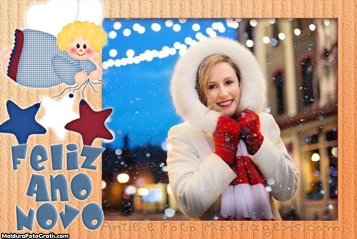 Feliz Ano Novo Anjinho Moldura