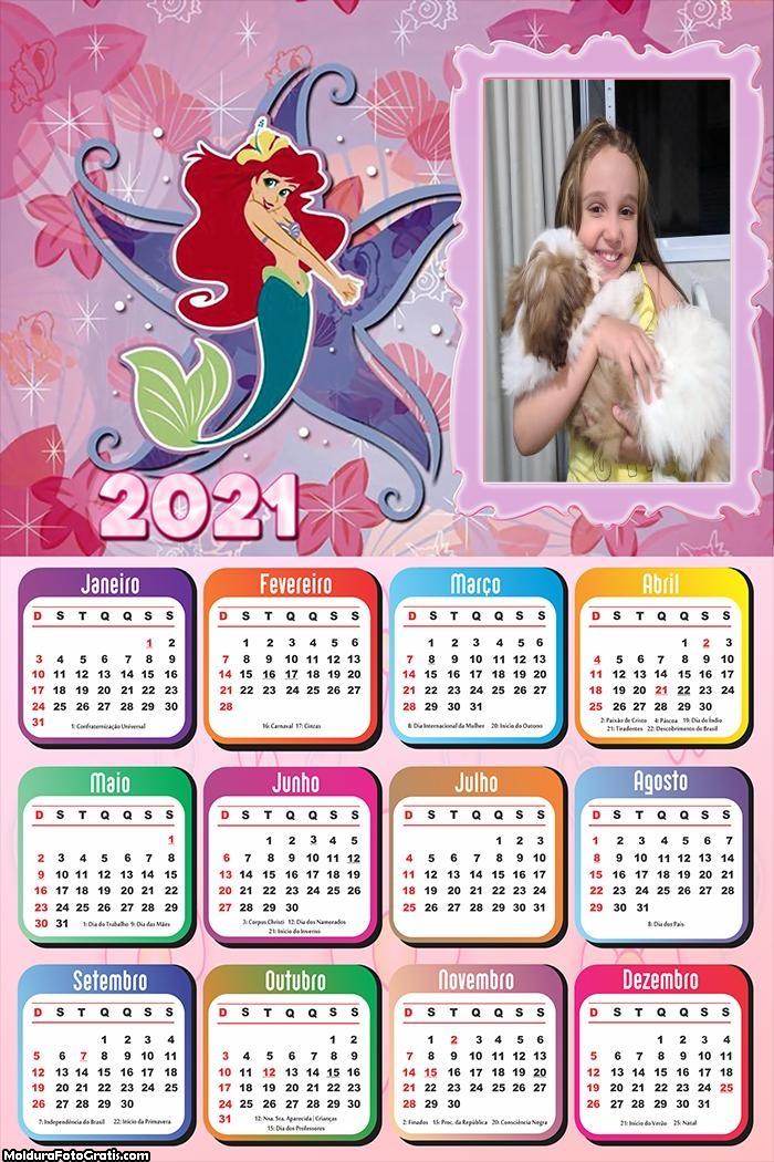 Calendário Sereia Ariel 2021