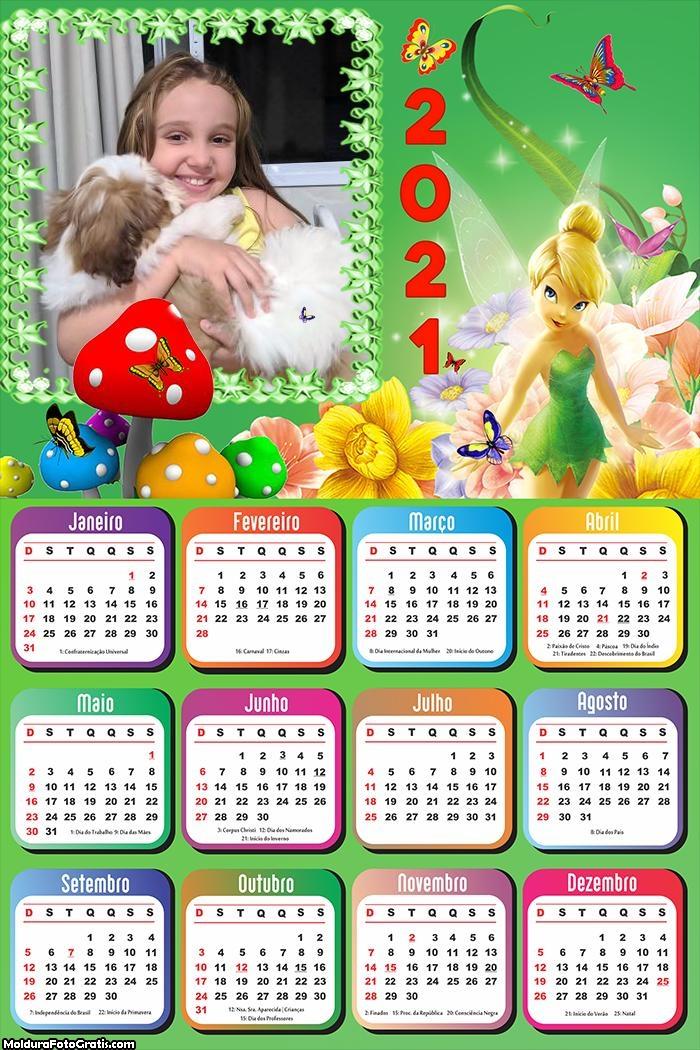Calendário Tinker Bell Fadas 2021
