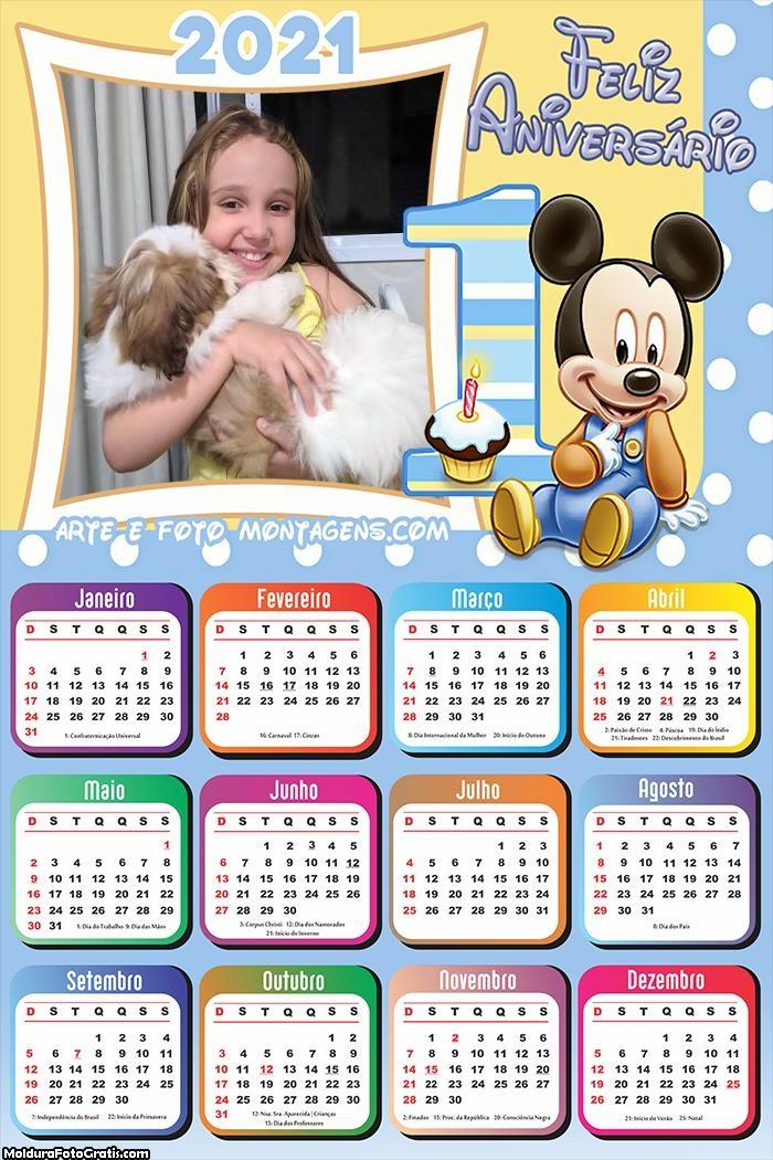 Calendário Mickey 1 Ano Feliz Aniversário 2021
