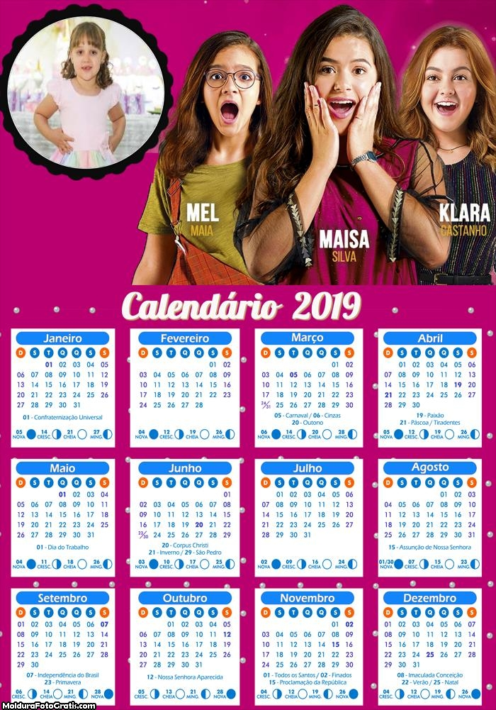 Calendário Tudo por um Popstar 2019