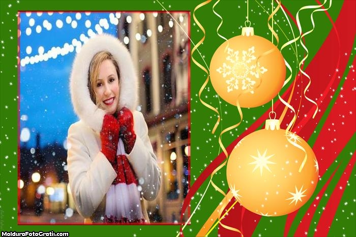 Bolas Amarelas Natal Moldura