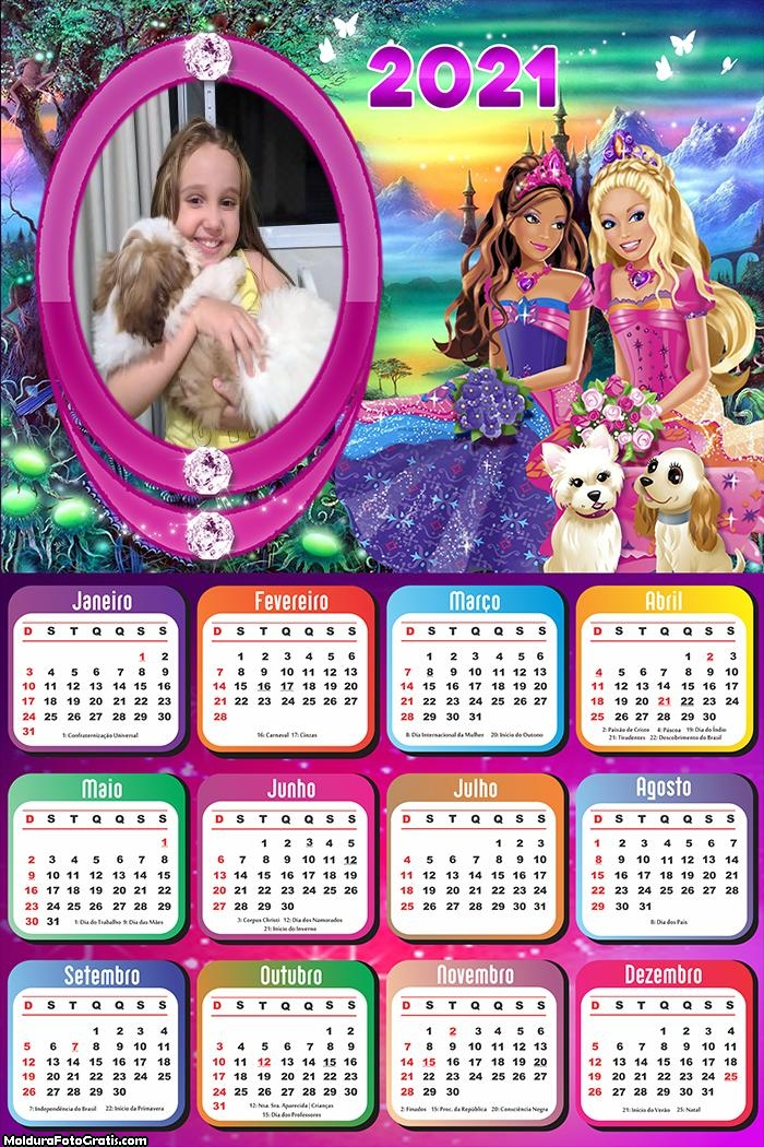 Calendário Barbie e Animais 2021