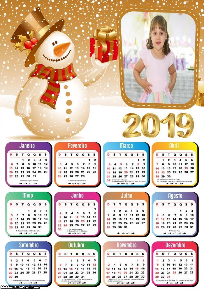 Calendário Boneco de Neve Dourado 2019