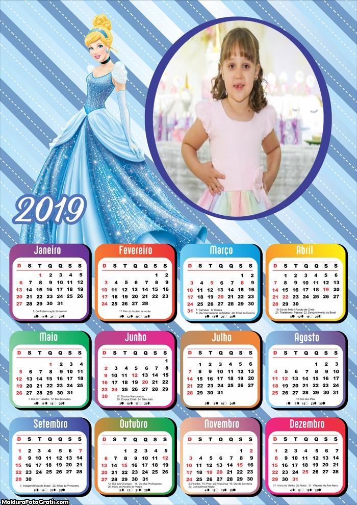 Calendário Princesa Cinderella 2019