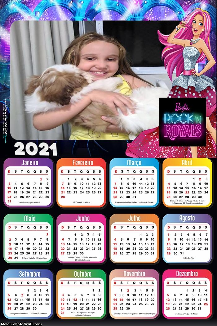 Calendário Barbie in Rock Royals 2021