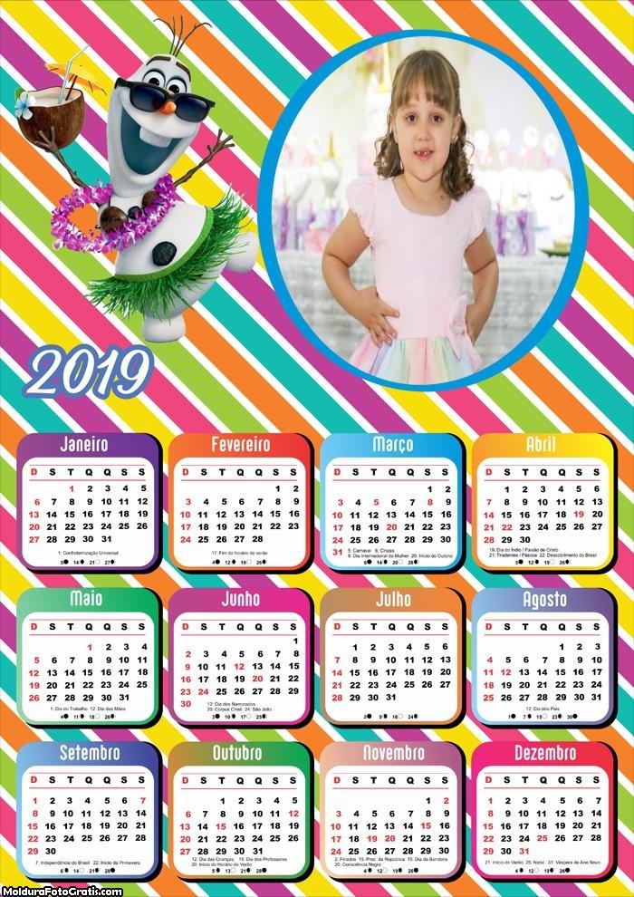 Calendário Olaf no Verão 2019
