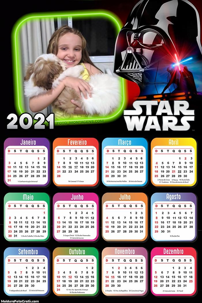 Calendário Starwars 2021