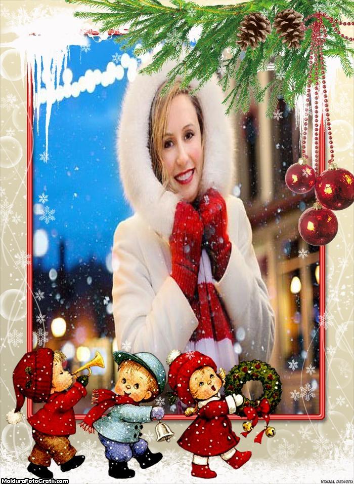 Crianças no Dia de Natal Moldura