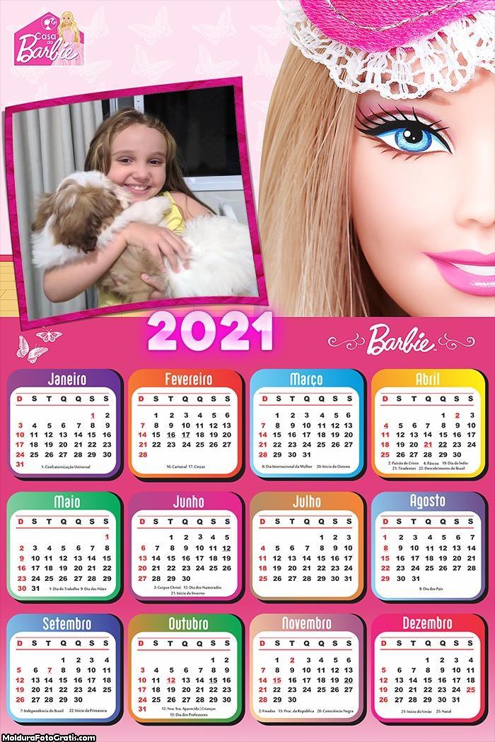 Calendário Rosto da Barbie 2021