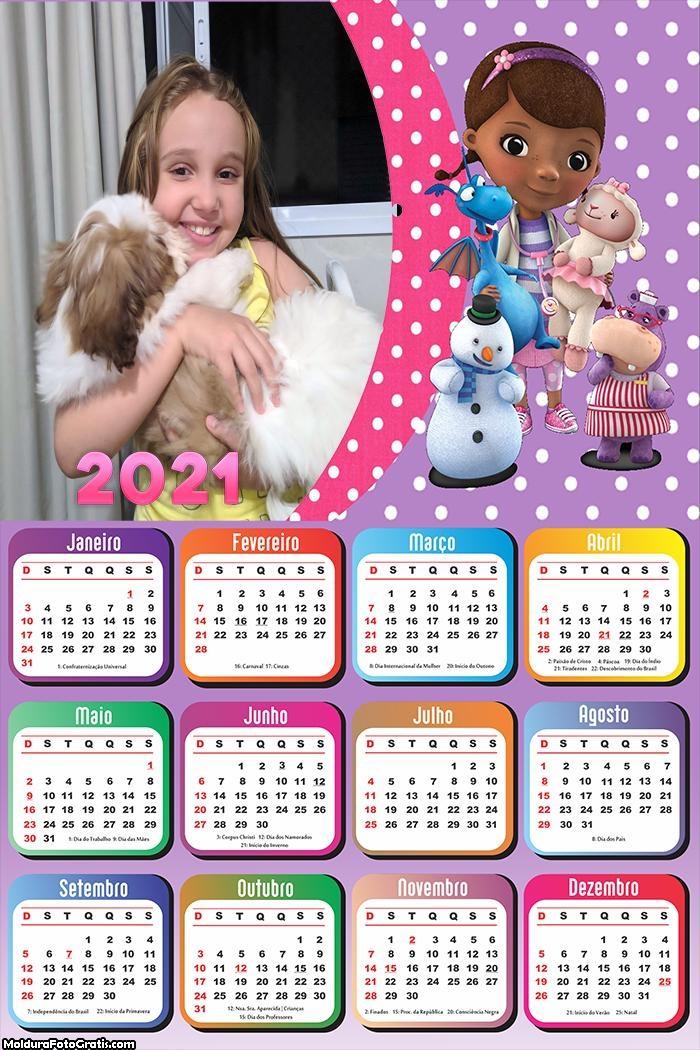 Calendário 2021 Desenho Doutora Brinquedos 2021