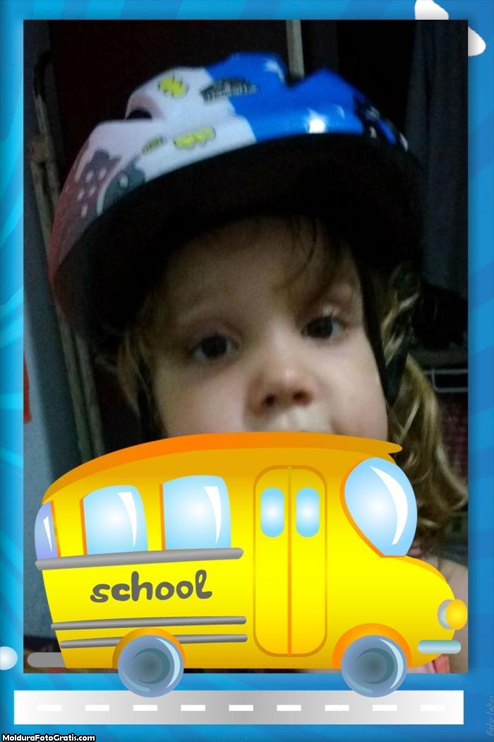 Montagem de Fotos Ônibus Escolar Amarelo