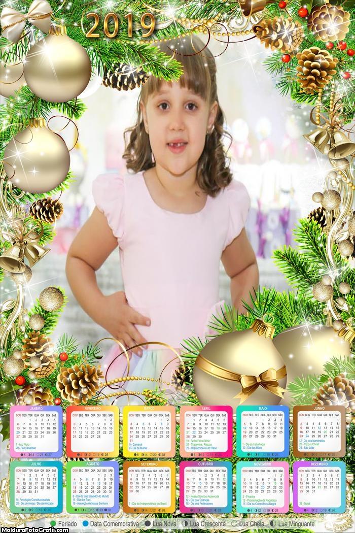 Calendário Enfeite Natal Branco 2019