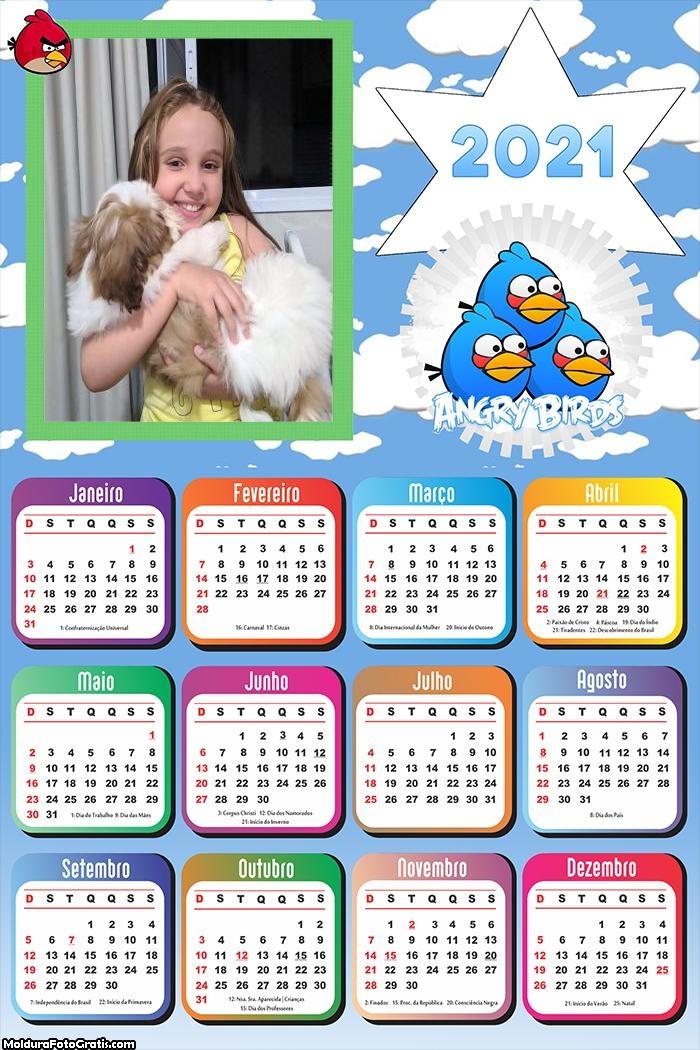 Calendário Angry Birds Azul 2021