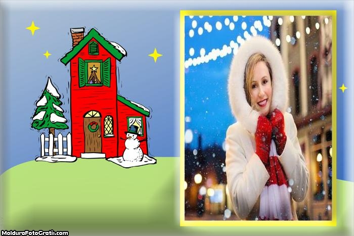Casa do Noel Moldura Desenho