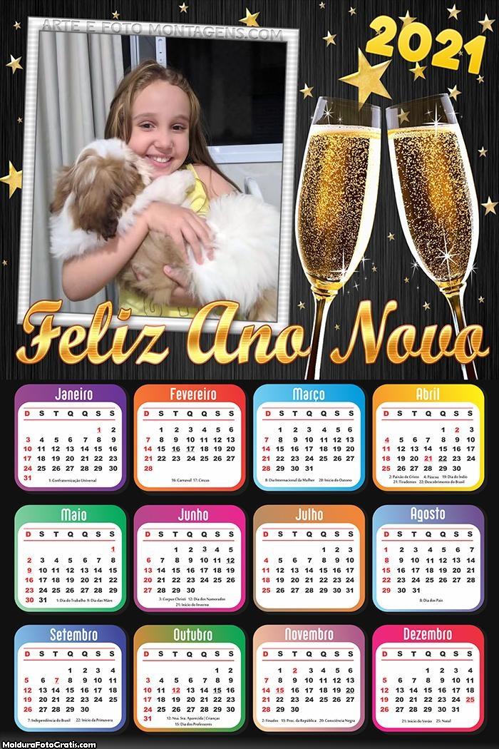Calendário Feliz Ano Novo 2021