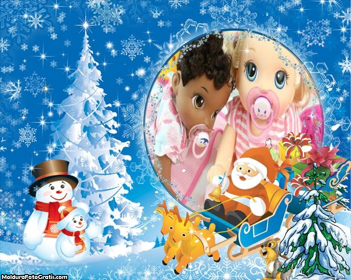 Desenho Papai Noel e Boneco de Neve