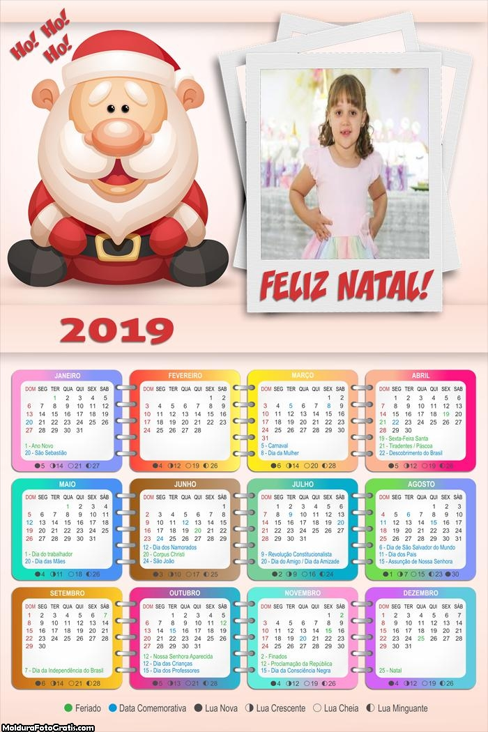 Calendário Papai Noel Feliz Natal 2019