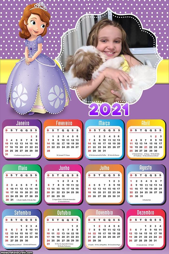 Calendário Vestido da Princesa Sofia 2021