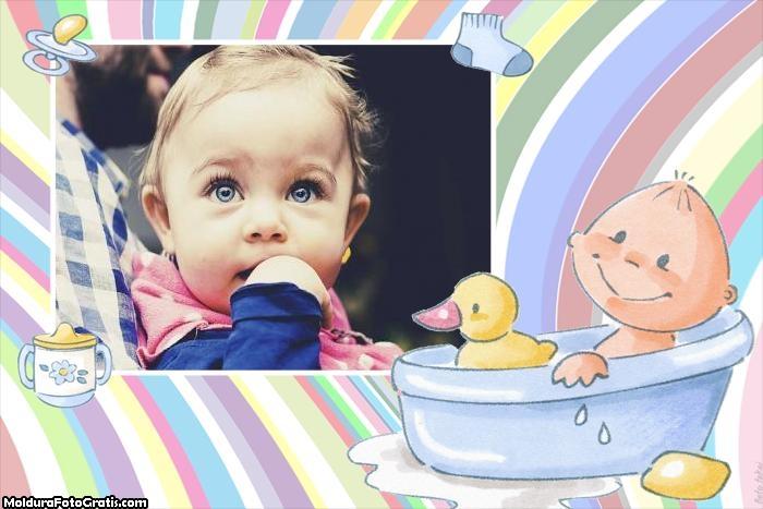 Moldura Bebê na Banheira